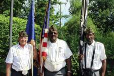 VFW members Anthony Alves (left), Lenny Hunter (center) and Dennis Clayburn (right) at the 13th Annual 4th of July Push-N-Pull Parade in Darien, Conn on July 4, 2017.