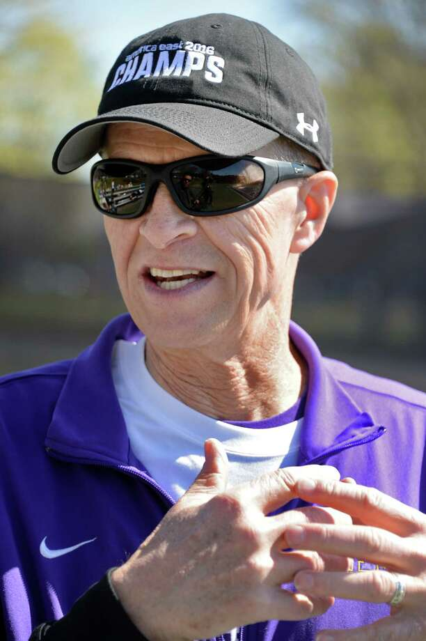 """Coach Gordon Graham talks about the future of the University at Albany tennis team during their """"fan appreciation"""" celebration after qualifying for the NCAA Tournament Saturday April 30, 2016 in Albany, NY.  (John Carl D'Annibale / Times Union) Photo: John Carl D'Annibale / 10036383A"""