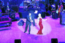"""In an Ohio performance of """"Dean Lives,"""" Drew Anthony and Vanessa Ralls as Peggy Lee."""