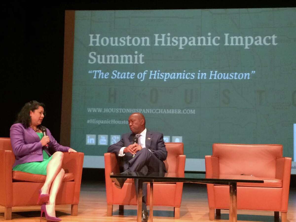Laura Murillo, president and CEO of the Houston Hispanic Chamber of Commerce, and Mayor Sylvester Turner spoke about the costs of Harvey recovery efforts at the chamber's second annual Hispanic Impact Summit.