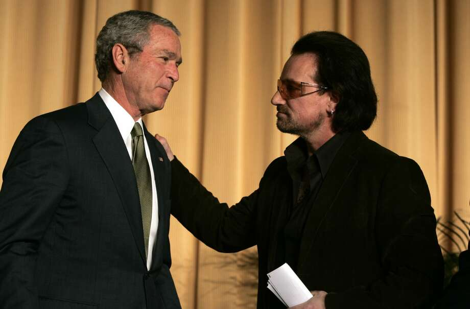 See more photos of Bush and Bono together through the years... Photo: Brooks Kraft/Corbis Via Getty Images