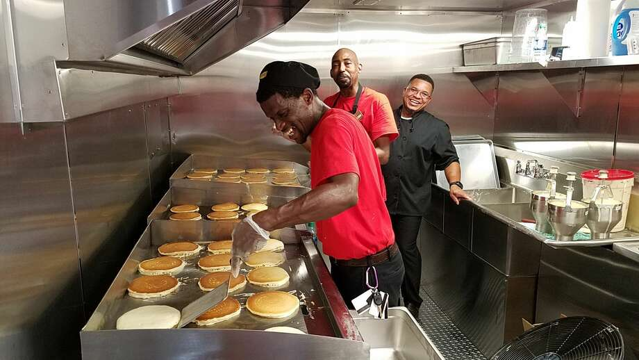 Fast casual breakfast haunt Denny's has a 53-foot mobile diner that is serving free hot meals in Houston to hungry people for the next few days.See more photos of the inside and outside of the Denny's mobile diner... Photo: Denny's