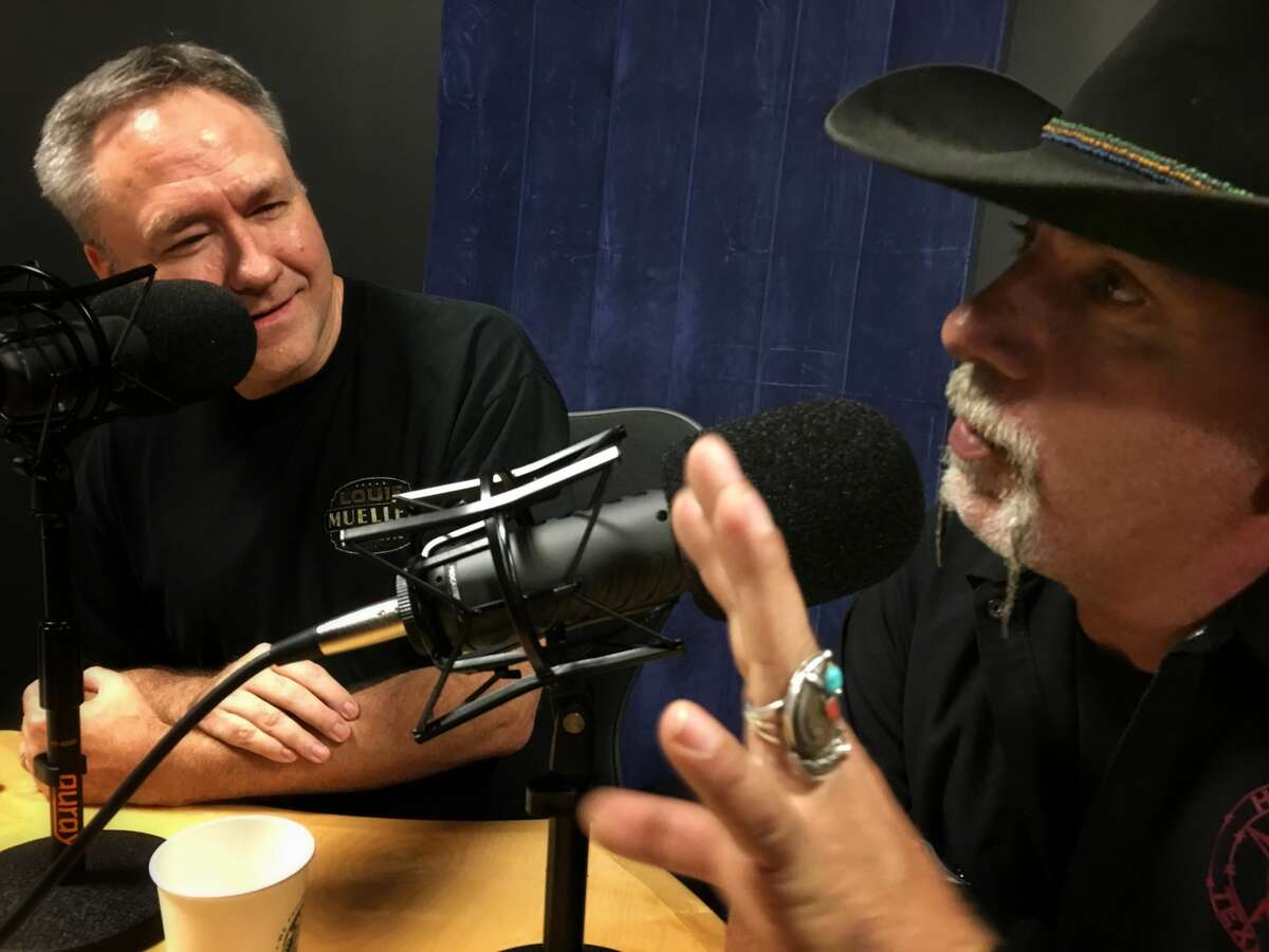 Ara Malekian, right, with Chronicle barbecue columnist J.C. Reid while taping Episode 14 of the BBQ State of Mind podcast.