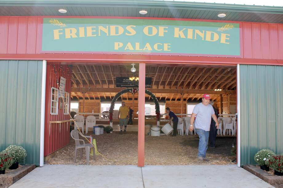 Organizers put the finishing touches on Friday afternoon at the Friends of Kinde Palace in preparation for this weekend's Kinde Polka Fest. The festival committee has been working for 12 years to create a permanent home for the festival. Festivities will run through Sunday. Photo: Brenda Battel Huron Daily Tribune