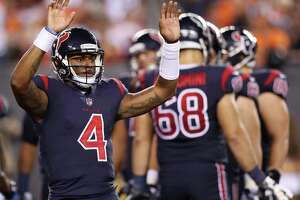 In his rookie starting debut Thursday, Texans quarterback Deshaun Watson posted a 75.9 rating after completing 15 of 24 passes for 125 yards.