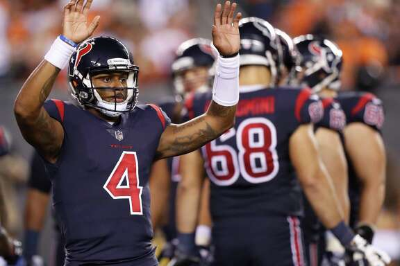 Houston Texans quarterback Deshaun Watson (4) during the third quarter of an NFL football game at Paul Brown Stadium on Thursday, Sept. 14, 2017, in Cincinnati. ( Brett Coomer / Houston Chronicle )