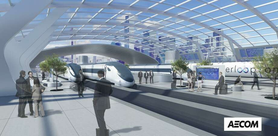 The proposal for a Hyperloop between Houston, San Antonio, Austin and Dallas would include stops, similar to trains stations, in the metro areas, with passengers traveling in vehicles within a sealed tube. Photo: Illustration Courtesy Of AECOM