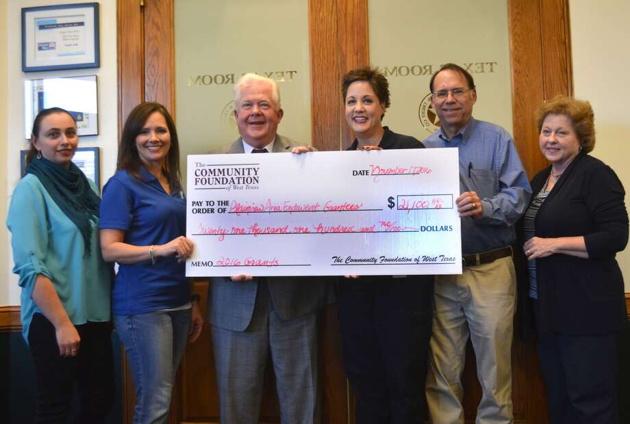 Last fall, the Plainview Area Endowment awarded $21,100 in grants to six area nonprofits following the 2016 fall grant cycle. They included Friends of Unger Memorial Library, represented by Librarian Mariya Hapiy (left), Plainview YMCA, Ashley Mayberry; Wayland Baptist University, Mike Melcher; Petersburg EMS, Kat Gicante; Plainview Downtown Restoration Inc., Blair and Gayle Willson; and Covenant Health Plainview restoration.