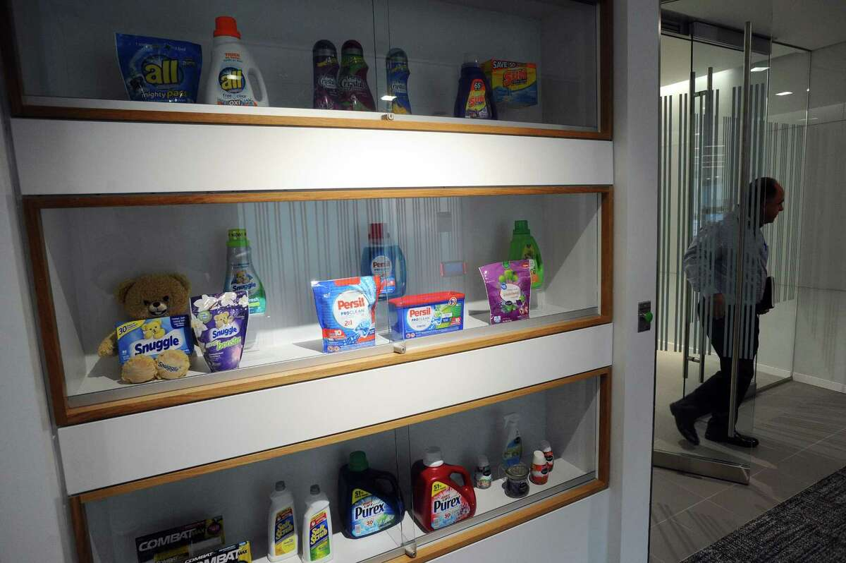 Henkel products are displayed in the company's new offices at 200 Elm St., in downtown Stamford, Conn.