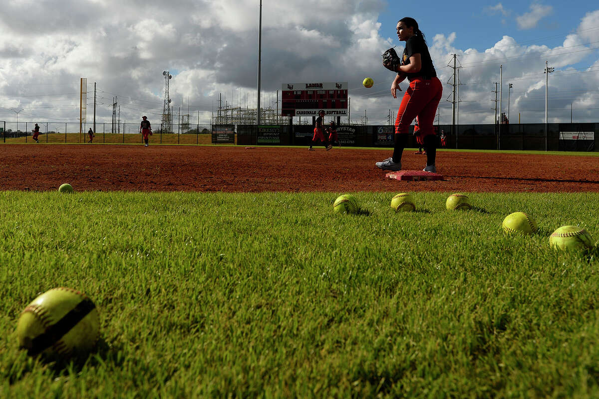 Lamar softball during their first practice of the season on Friday afternoon. The team will play an intrasquad scrimmage Sunday at 1:30 p.m. at the school's softball complex. Last year, the team played in the conference championship, their best year since the program restarted in 2013. Photo taken Friday 1/13/17 Ryan Pelham/The Enterprise