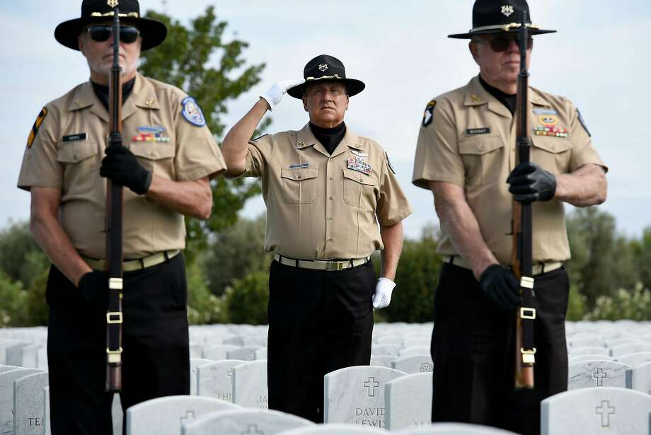 Honor Guard members Jerry Hicks (left), Lu Pietrowski and Tom Murry are volunteers who provide funeral honors for military veterans at the Sacramento Valley National Cemetery in Dixon. Photo: Michael Short, Special To The Chronicle