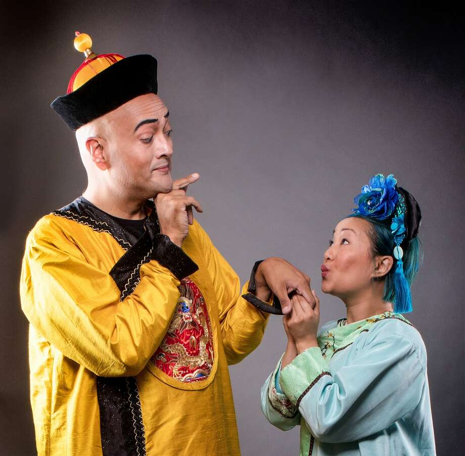 """DC Scarpelli (left) as the Emperor and Isabel To as Mei Lin in """"The Song of the Nightingale"""" at Town Hall Theatre. Photo: Stu Selland, Town Hall Theatre"""
