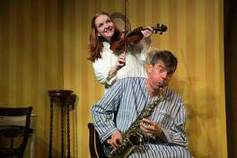 """""""I Do! I Do!"""" is on stage at TheatreWorks New Milford Friday, Sept. 22, through Sunday, Oct. 22. The show's two stars, Carey Van Hollen and Jonathan Jacobson, rehearse."""