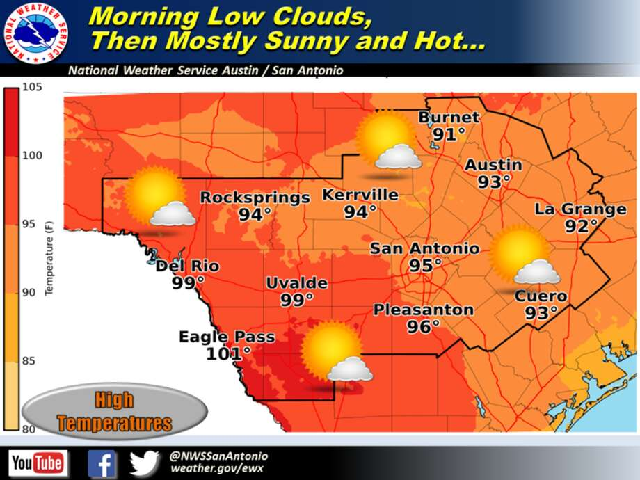 The National Weather Service predicts highs in the 90s this weekend.