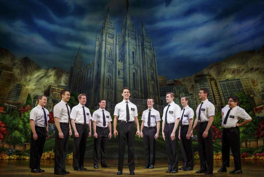"Conner Peirson, far right, plays Elder Cunningham in the touring ""Book of Mormon."" Photo: Joan Marcus / Via Shubert Theatre / ©2017 Joan Marcus"