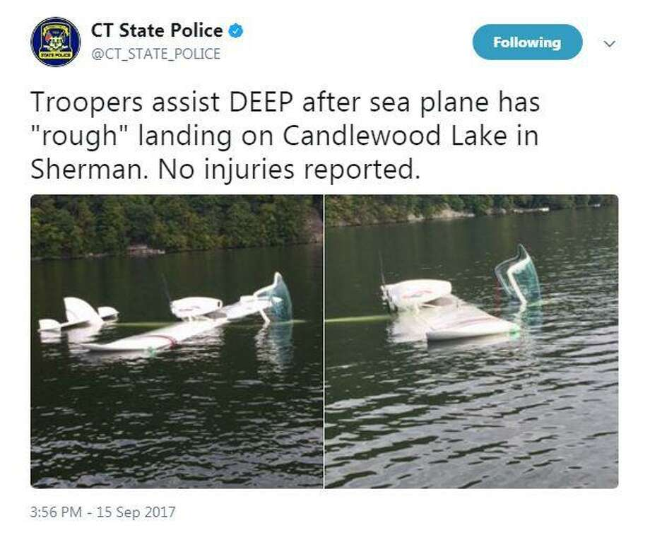 "Connecticut State Police tweeted two photos of a seaplane that had a ""hard landing"" Candlewood Lake near Chicken Rock island in Sherman on Friday. Photo: Contributed Photo / Connecticut Post"