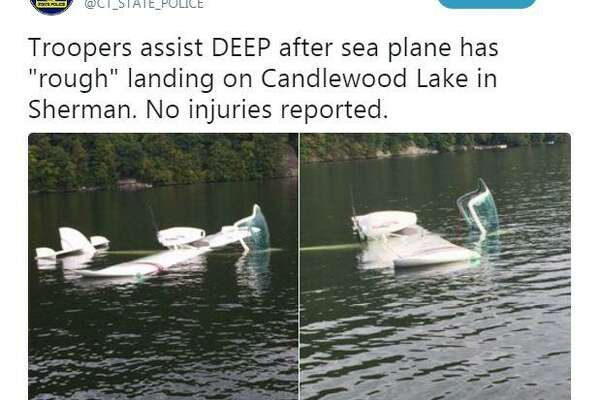 "Connecticut State Police tweeted two photos of a seaplane that had a ""hard landing"" Candlewood Lake near Chicken Rock island in Sherman on Friday."