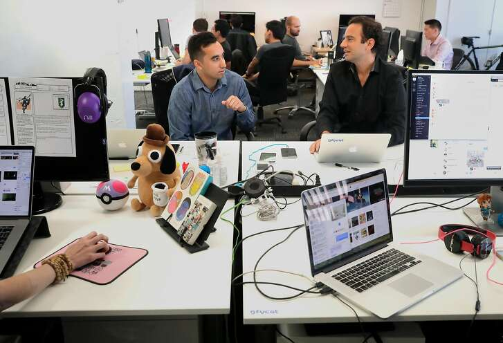John Dodini, (left) head of business development and Richard Rabbat, CEO and co-founder at the offices of Gfycat, on Thursday September 14,  2017, in Palo Alto, Ca. Gfycat was founded in order to upgrade the GIF viewing experience to the 21st century.