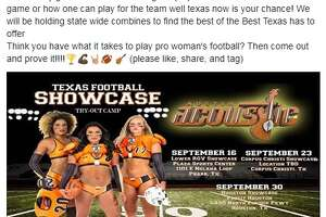 Legends Football League, a womens-only network of eight teams, is hosting tryouts throughout Texas, starting on Sept. 16, according to a Facebook post by Chasity Morales, who is a wide receiver/safety for the Austin Acoustic team