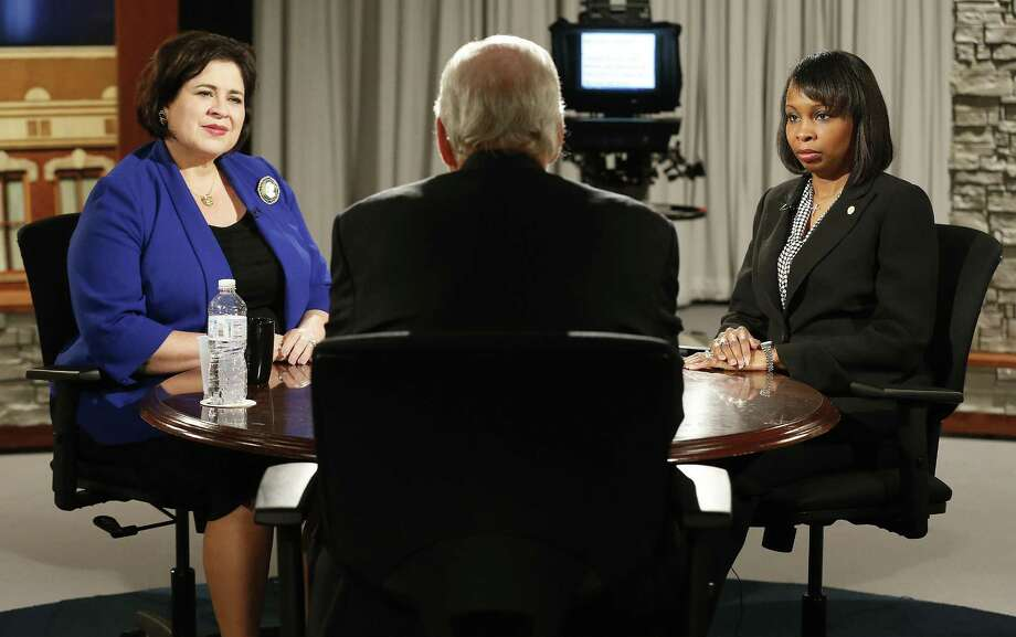 "In 2015, Mayoral candidate Leticia Van De Putte, left, joins interim Mayor Ivy Taylor, in the first of five mayoral forums at KLRN studios. ""Texas Week,"" which longtime journalist Rick Casey hosted, is ending, but Casey says he hopes this isn't the end of public affairs programming. Photo: Kin Man Hui /San Antonio Express-News / ©2015 San Antonio Express-News"