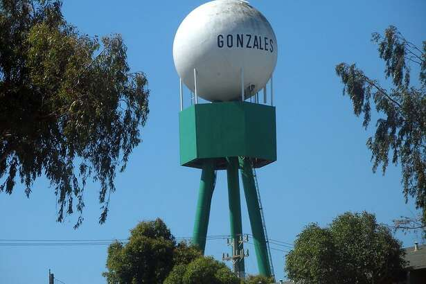 The water tower is not the tallest structure in Gonzales (Monterey County) — a new wind turbine built to accommodate Taylor Farms has that distinction.