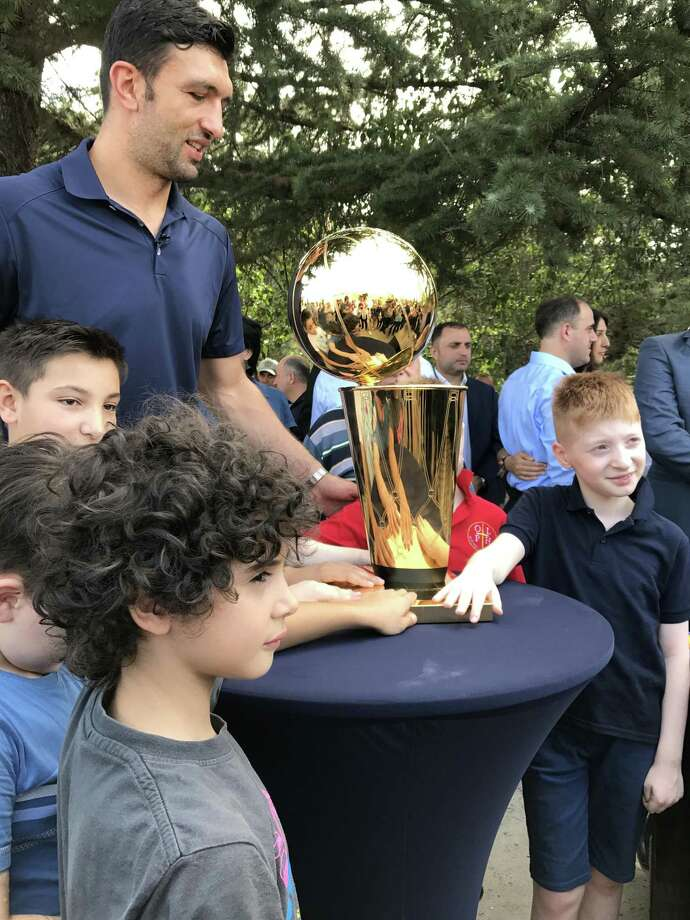 Golden State Warriors Center Zaza Pachulia brings the 2017 NBA Finals Larry O'Brien trophy to his home country of Georgia on August  7, 2017. Photo: Golden State Warriors / Golden State Warriors / Golden State Warriors