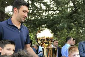 Golden State Warriors Center Zaza Pachulia brings the 2017 NBA Finals Larry O'Brien trophy to his home country of Georgia on August  7, 2017.