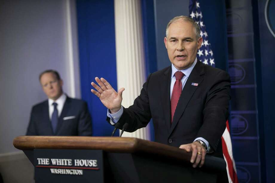 Scott Pruitt, administrator of the Environmental Protection Agency, at the White House in Washington, June 2. Scientists are concerned that Trump administration officials are sidestepping questions about climate change after two major hurricanes. Photo: AL DRAGO /NYT / NYTNS