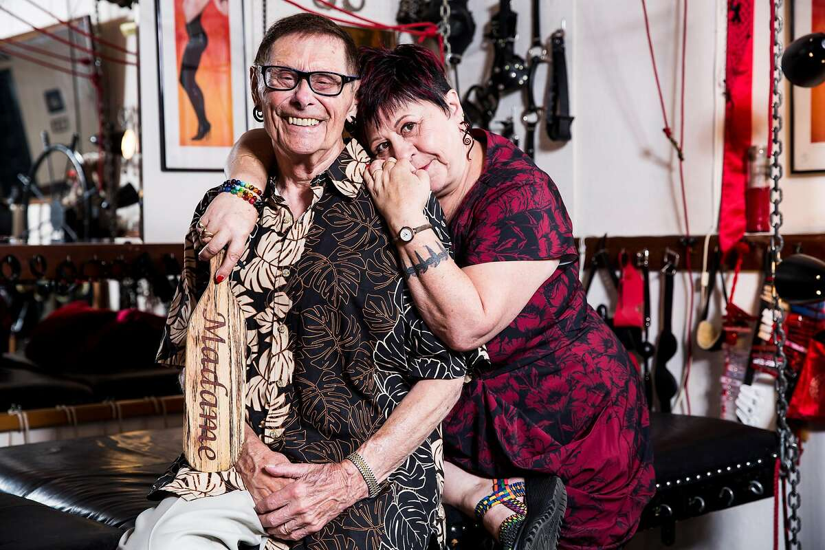 Fakir Musafar and Cleo du Bois, pioneers and teachers of bondage play and body modifications, pose for a portrait at their home in Silicon Valley on Monday, Aug. 21, 2017.