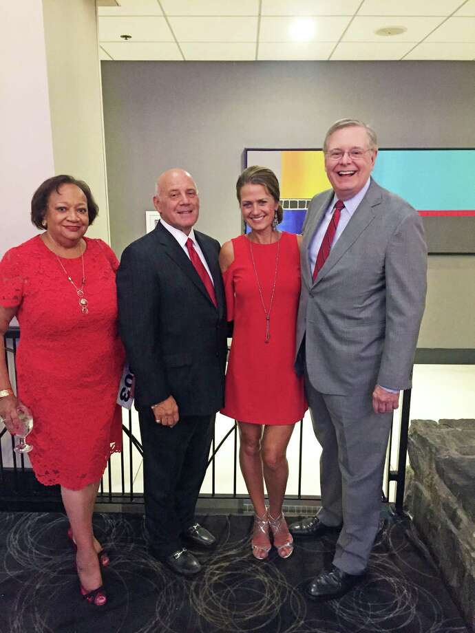 Juanita James, honoree Frank J. Mercede, Lori Mercede and Stamford Mayor David Martin at the American Cancer Society's Fairfield County Roast and fundraiser. Photo: Contributed /