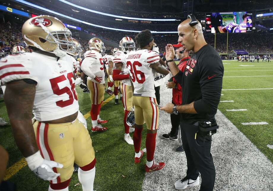 Defensive Coordinator Robert Saleh xx on the sideline during the game against the Minnesota Vikings. Photo: Michael Zagaris / Michael Zagaris / Getty Images / 2017 Michael Zagaris