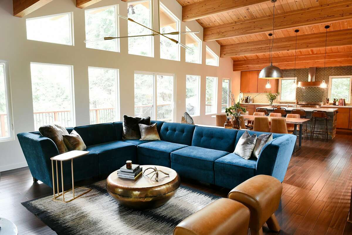 The upstairs living room and kitchen of Will and Caryn Sloan's vacation home in Homewood (Placer County) near Lake Tahoe.