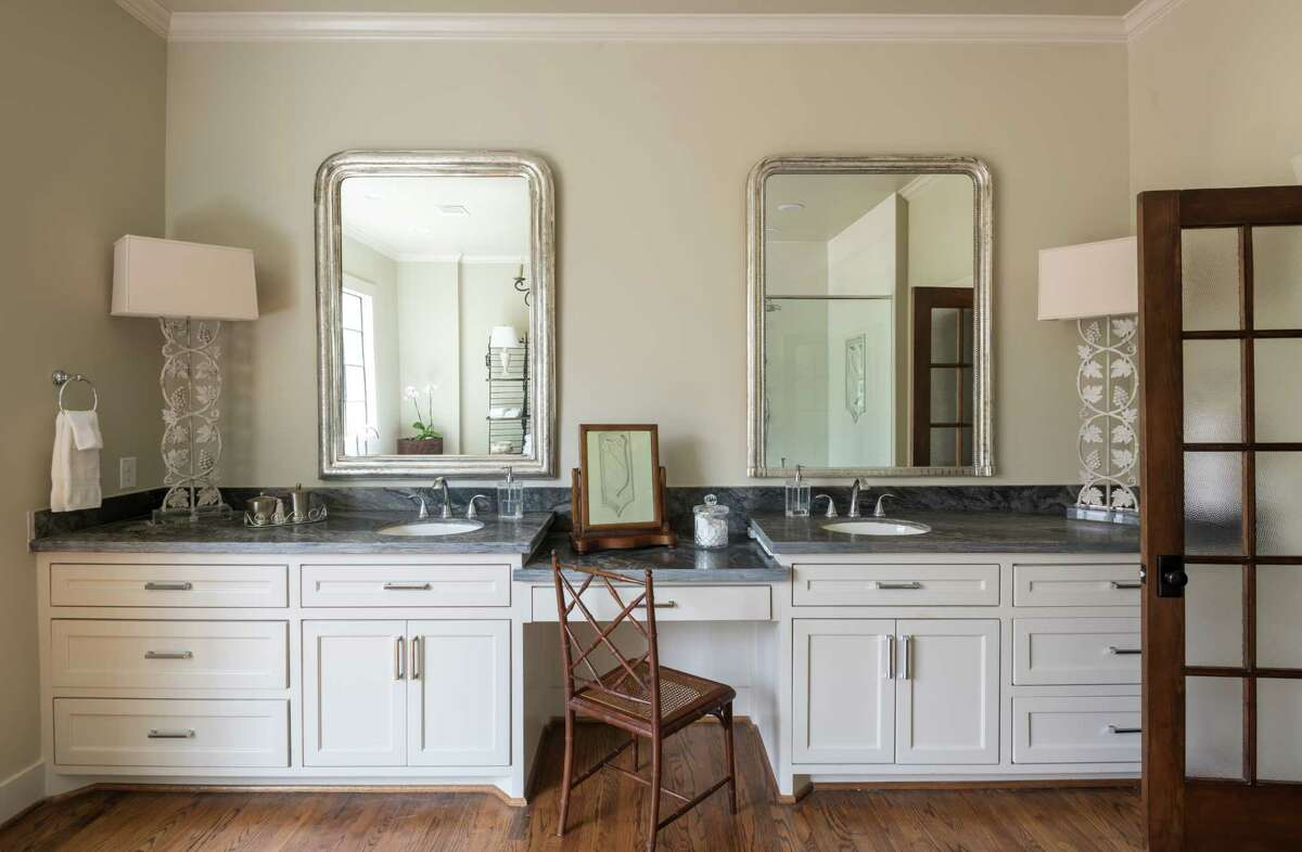 The master bathroom in the Heights home of Leighton Hale and Carlos Garza.