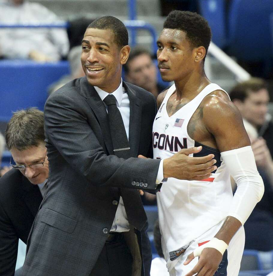 UConn head coach Kevin Ollie, left has only Jalen Adams, right, and Christian Vital as returners who played significant minutes last season. Photo: Stephen Dunn / Associated Press / FR171426 AP