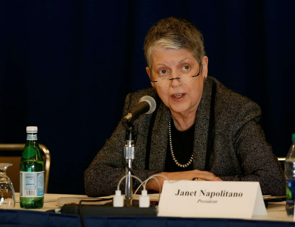 UC President Janet Napolitano speaks before the UC Board of Regents voted to select Gary May, a Georgia Tech dean, to become the next chancellor of UC Davis during a meeting at UCLA's DeNeve Plaza. Photo taken in Los Angeles, Calif., on Feb. 23, 2017. (Allen J. Schaben / Los Angeles Times/TNS)