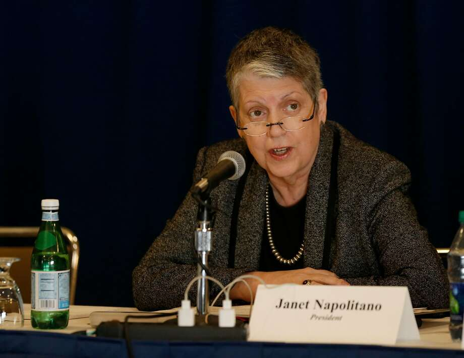 UC President Janet Napolitano speaks before the UC Board of Regents voted to select Gary May, a Georgia Tech dean, to become the next chancellor of UC Davis during a meeting at UCLA's DeNeve Plaza. Photo taken in Los Angeles, Calif., on Feb. 23, 2017. (Allen J. Schaben / Los Angeles Times/TNS) Photo: Allen J. Schaben, TNS