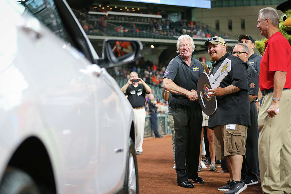 The Houston Astros surprised U.S. Army Specialist Matthew Connally with a 2018 Chevy Equinox before Friday's game against the Seattle Mariners at Minute Maid Park.