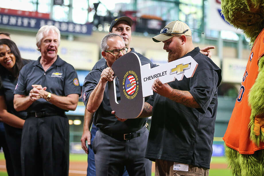 PHOTOS: A look at Matthew Connally being surprised with a new carThe Houston Astros surprised U.S. Army Specialist Matthew Connally with a 2018 Chevy Equinox before Friday's game against the Seattle Mariners at Minute Maid Park.Browse through the photos above to see Matthew Connally get surprised with a new car. Photo: Houston Astros