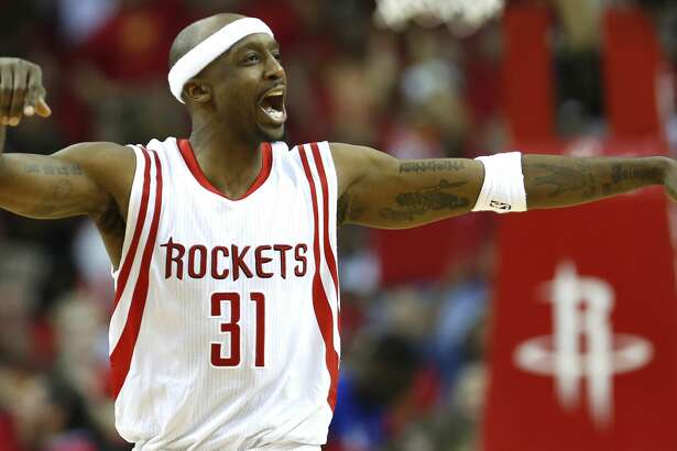 Houston Rockets guard Jason Terry reacts as he comes off the court for a timeout against the Los Angeles Clippers during the fourth quarter of Game 5 of an NBA basketball Western Conference semifinal series, Tuesday, May 12, 2015, in Houston. The Rockets won 124-103. (James Nielsen/Houston Chronicle via AP)