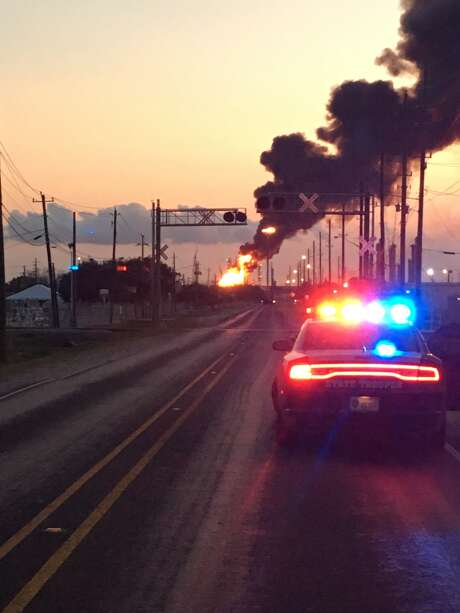 A blaze broke out at a Mont Belvieu plant Friday night. Photo: Chambers County Sheriff