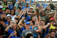 Hamshire-Fannett students cheer during the Rice Bowl rivalry football between Hamshire-Fannett and East Chambers. The two communities were both severely flooded by Tropical Storm Harvey.  Photo taken Friday 9/15/17 Ryan Pelham/The Enterprise