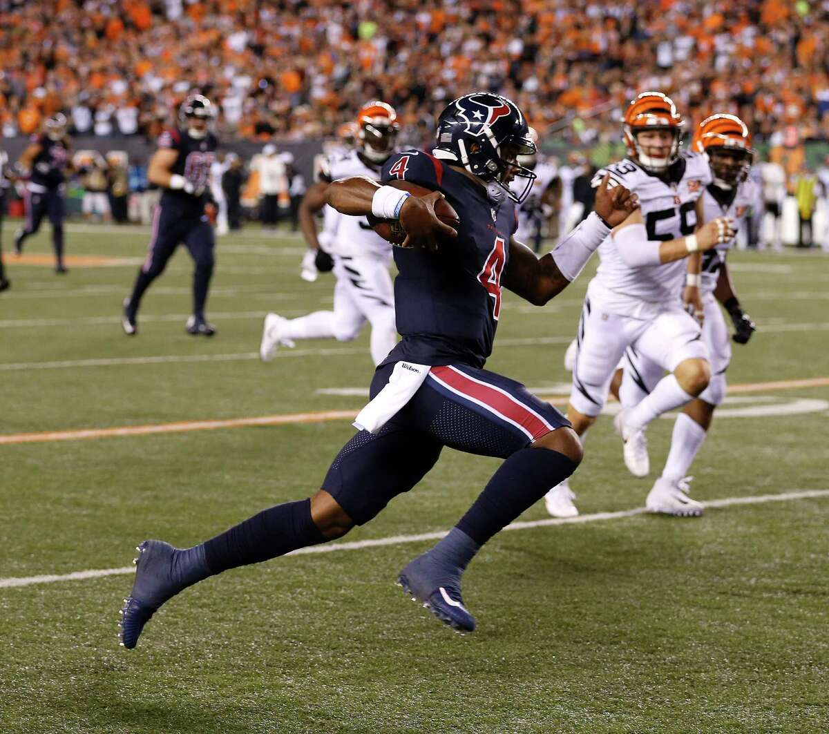 Far and away the highlight of Deshaun Watson's first career start for the Texans was a 49-yard, second-quarter scramble for the only touchdown in a win against the Bengals.