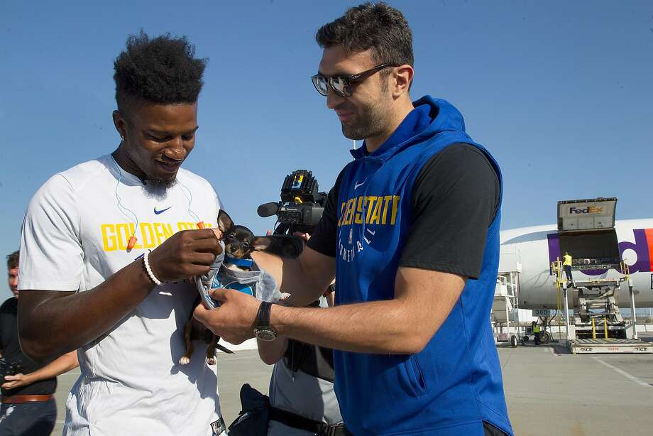 Warriors Jordan Bell (left) and Zaza Pachulia (right) help aid the delivery of more than 150 dogs and cats transported to no-kill shelters at FedEx in Oakland airport on Friday, September 15, 2017, in Oakland, Calif. Photo: Liz Hafalia, The Chronicle