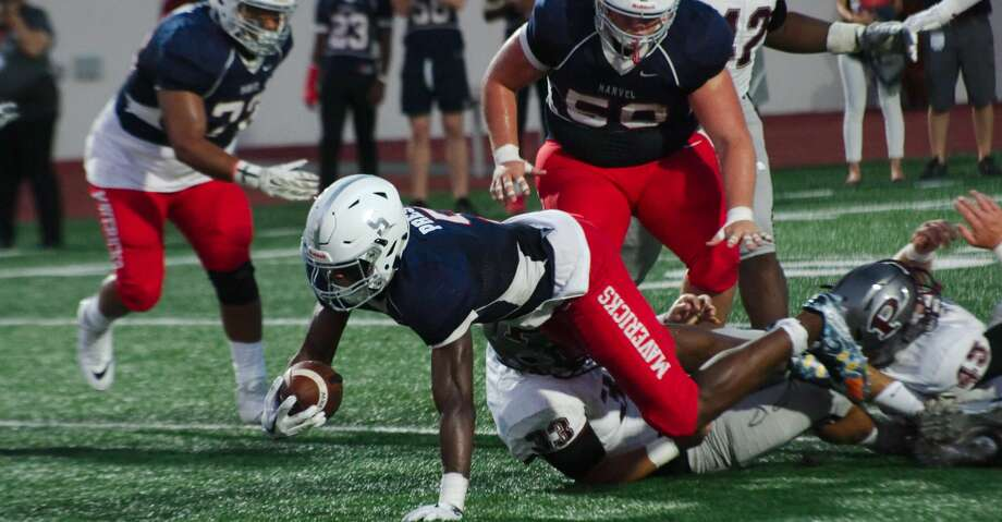 Manvel's Jalen Preston (5) dives into the end zone against Pearland in the first half Friday, Sep. 15 at Manvel High School. Photo: Kirk Sides/Houston Chronicle