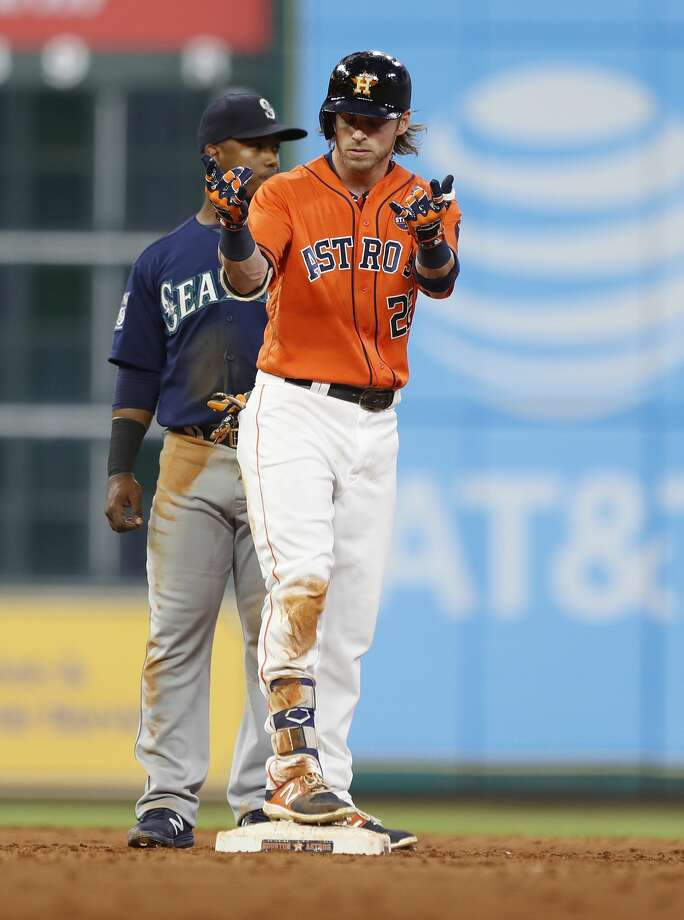 Houston Astros right fielder Josh Reddick (22) reacts on second base after his RBI double during the third inning of an MLB baseball game at Minute Maid Park, Friday, Sept. 15, 2017, in Houston.  ( Karen Warren / Houston Chronicle ) Photo: Karen Warren/Houston Chronicle