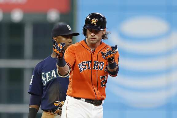 Houston Astros right fielder Josh Reddick (22) reacts on second base after his RBI double during the third inning of an MLB baseball game at Minute Maid Park, Friday, Sept. 15, 2017, in Houston.  ( Karen Warren / Houston Chronicle )