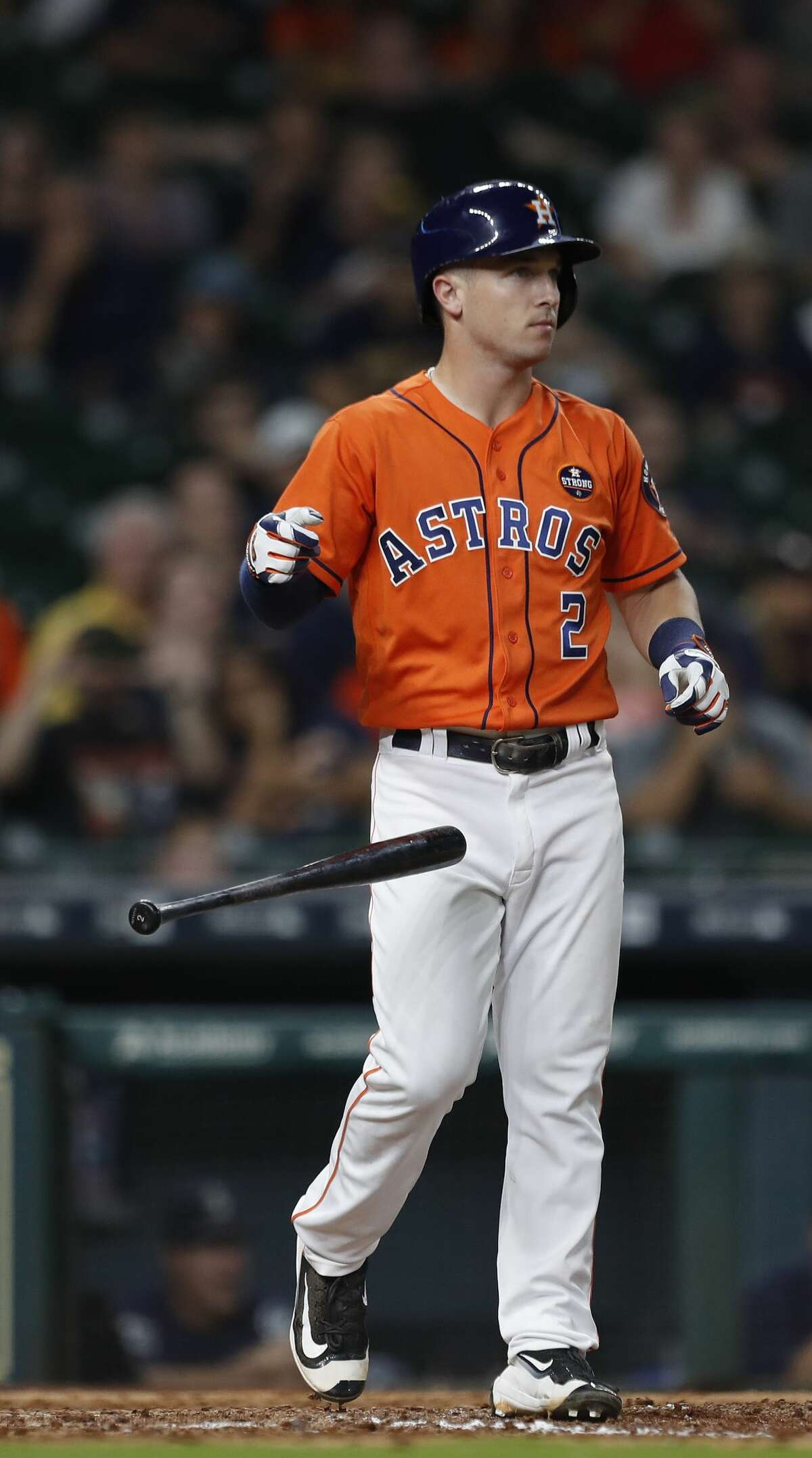 Houston Astros third baseman Alex Bregman (2) strikes out with the bases loaded during the eighth inning of an MLB baseball game at Minute Maid Park, Friday, Sept. 15, 2017, in Houston. ( Karen Warren / Houston Chronicle )