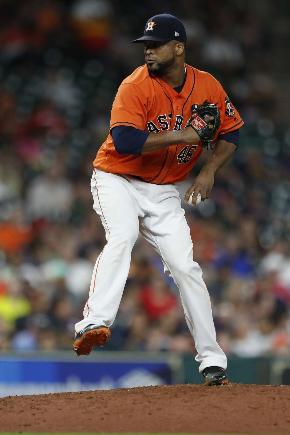 Houston Astros relief pitcher Francisco Liriano (46) pitches during the eighth inning of an MLB baseball game at Minute Maid Park, Friday, Sept. 15, 2017, in Houston. ( Karen Warren / Houston Chronicle )