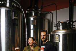 Owners, Shae Inglin and Kevin and Inglin, photographed at their brewery, FDR, in San Francisco, Calif. Thursday, September 14, 2017.