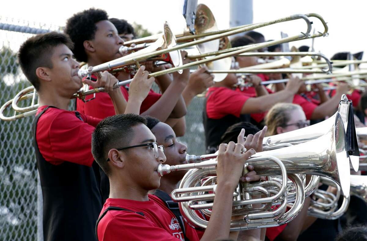 The Westfield Marching Band plays before their game against North Shore at George Stadium in Spring, TX, Sept. 15, 2017. (Michael Wyke / For the Chronicle)